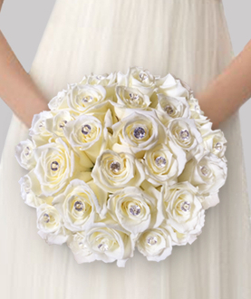 Nosegay bouquet of 20  white roses